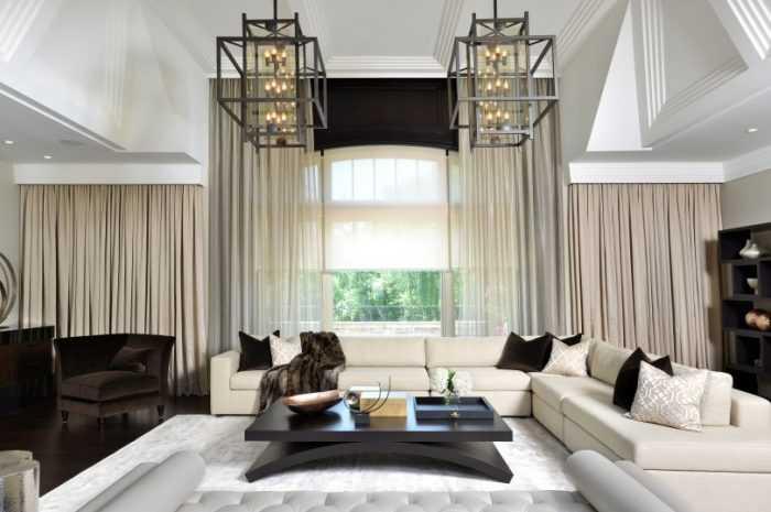 Шторы в стиле модерн: принципы стиля модерн, подходящие цвета и материалы штор, выбор конструкции для каждой комнаты (фото + видео)
