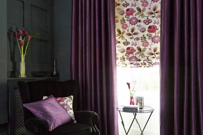Сиреневые шторы: особенности использования сиреневых оттенков для штор. Виды стилей, установки и крепления, правила сочетания штор (фото + видео)